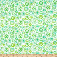 In The Beginning Fabrics Unusual Garden II  Blooms Green/White