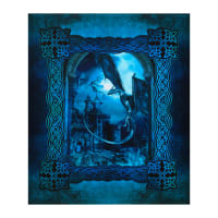 "In The Beginning Fabrics Digital Dragons Blue Fury Large Castle 36"" Panel Blue"