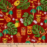 Trans-Pacific Textiles Auntie Hula's Trading Post Red