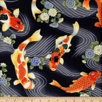 Trans-Pacific Textiles Peaceful Koi Stream Black