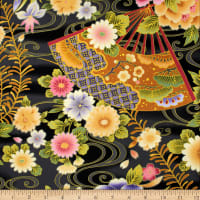 Trans-Pacific Textiles Asian Fan Garden Black