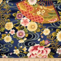Trans-Pacific Textiles Asian Fan Garden Blue