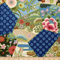 Trans-Pacific Textiles Heritage Patch Blocks Blue