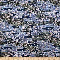 Trans-Pacific Textiles Golden Sakura Wave Blue