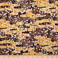 Trans-Pacific Textiles Golden Sakura Wave Wine
