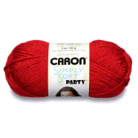 Caron Simply Soft Party Yarn, Red Sparkle