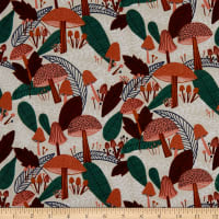 Cloud9 Fabrics Organic Cotton Linen Plant Peeps Forest Flourish Orange