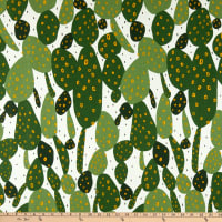 Cloud9 Organic Cotton Duck Wildlife Cactus White/Green Multi