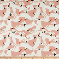 Cloud9 Organic Cotton Duck Wildlife Vanilla Sky White/Pink Multi