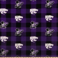 NCAA Kansas State Wildcats Fleece Buffalo Plaid Purple/Black/White