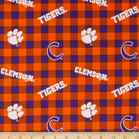 NCAA Clemson Tigers Buffalo Plaid Cotton