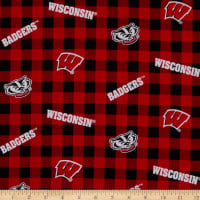 NCAA Wisconsin Badgers Buffalo Plaid Cotton