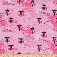 Nurse Pink Abstract Geo Logo Allover Cotton Fabric