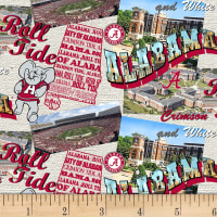 NCAA Alabama Crimson Tide Scenic Map Cotton Multi