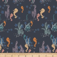 Art Gallery Enchanted Voyage Seahorse Magic Deep Blue/Yellow/Pink
