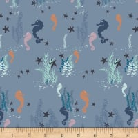 Art Gallery Enchanted Voyage Seahorse Magic Shallow Blue/Yellow/Pink
