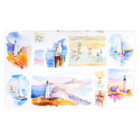 "At the Shore Digital Small 24"" Panel White"