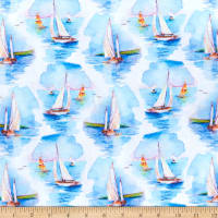 At the Shore Digital Sailboats White