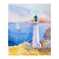 "At the Shore Digital Lighthouse Large 36"" Panel"
