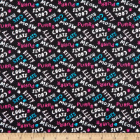 Fabric Editions Cool Cat Club Cat Words Black