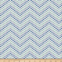 Liberty Fabrics Summer House Topiary Chevron Blue