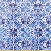 Shannon Studio Digital Minky Cuddle Mosaic Blue/White