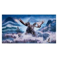 "Shannon Hoffman Digital Minky Cuddle 36"" Panel Moose Waterfall"