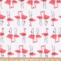 Milly Silk Voile Flamingo Print White/Red