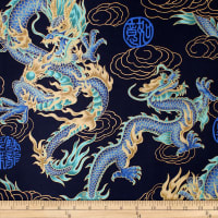 Trans-Pacific Textiles Asian Good Luck Dragon with Gold