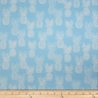 Trans-Pacific Textiles Playful Pineapple Row Blue