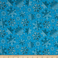 Cloud9 Fabrics Organic Tinsel Wonderland Blue/White