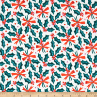 Cloud9 Fabrics Organic Tinsel Holly Jolly White/Red