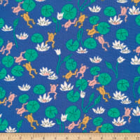 Cloud9 Fabrics Organic Natural Beauty Felbrigg Frogs Blue
