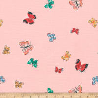 Cloud9 Fabrics Organic Natural Beauty Blakeney Butterflies Pink