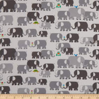 Cloud9 Fabrics Organic Ed Emberley Favorites Elephants White/Gray