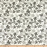 "Westrade 110"" Flannel Wide Quilt Backs Flower Power White/Black"
