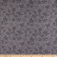 "Westrade 110"" Flannel Wide Quilt Backs Flower Power Grey"