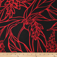 Trans-Pacific Textiles Rayon Challis Ginger Rendezvous Black/Red