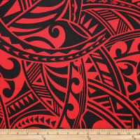 Trans-Pacific Textiles Rayon Challis Tribal Force Red