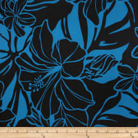 Trans-Pacific Textiles Matte Jersey Knit All About the Bloom Teal