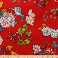 Telio Rayon Voile Floral Print Red