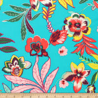 Telio Picasso Rayon Poplin Floral Print Teal