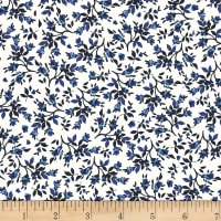 Stoffabric Denmark Tiled Up Flowers Blue/White