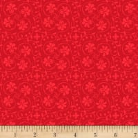Stoffabric Denmark Tiled Up  Flowers Dark Red