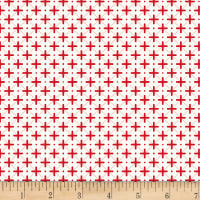 Stoffabric Denmark Tiled Up Crosses & Lines Red