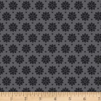Stoffabric Denmark Tiled Up Flowers Black