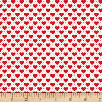 Stoffabric Denmark Tiled Up Hearts & Lines Red