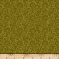 Stoffabric Denmark Colourflow Dahlia Flowers Khaki
