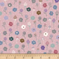 Stoffabric Denmark Flower and Dot Multi Flowers Dusty Rose