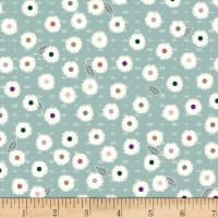 Stoffabric Denmark Flower and Dot Multi Flowers Dusty Green